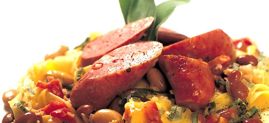 Pappardelle med salsiccia och bönor