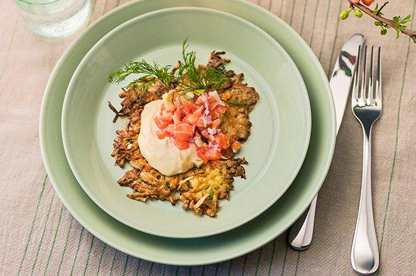 Recept på Råraka på rotselleri med laxtartar