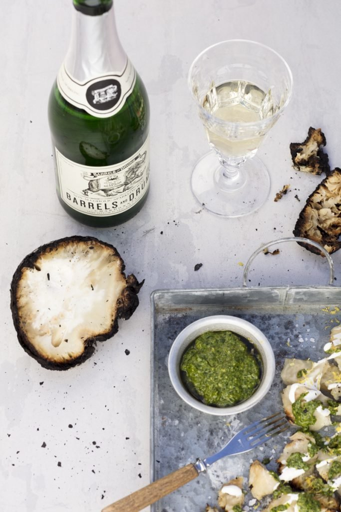 Barrels and Drums non alcoholic sparkling Chardonnay, Grilled celeriac with lemon sour cream and Swedish summer pesto